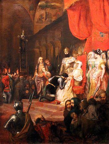 la scena macabra dell'incoronazione del cadavere della regina Inès